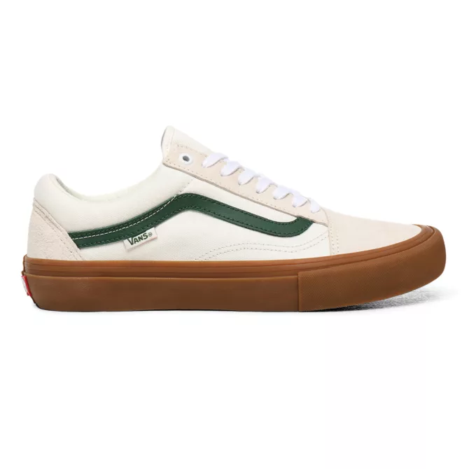 vans old school pro white green gum