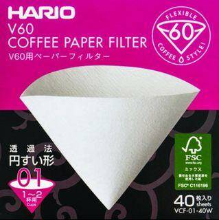 Hario - V60 Coffee Paper Filter 01 - 40 stuks