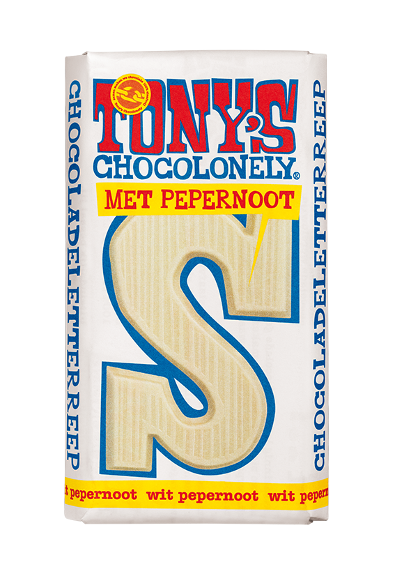 Tony's Chocolonely - Chocoladeletter Wit pepernoot S (1 week levertijd)