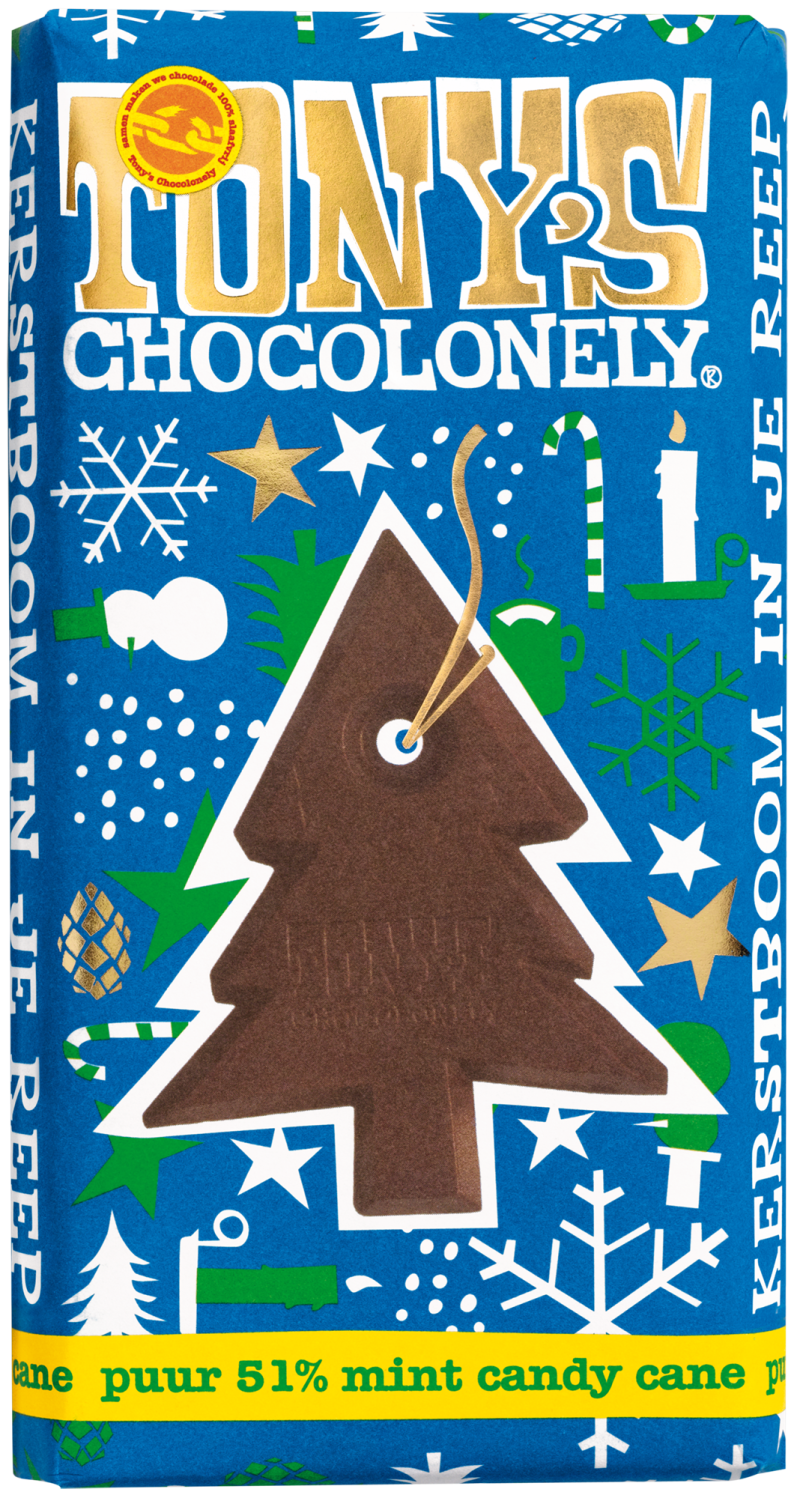 Tony's Chocolonely - Kerstreep Puur Mint Candy Cane 180 gr. (levertijd 1 week)
