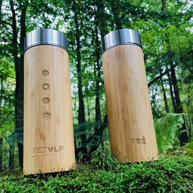 WE RISE Bamboo Stainless Steel Insulated Flask