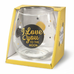 Gin-waterglas: Love you to the moon and back.