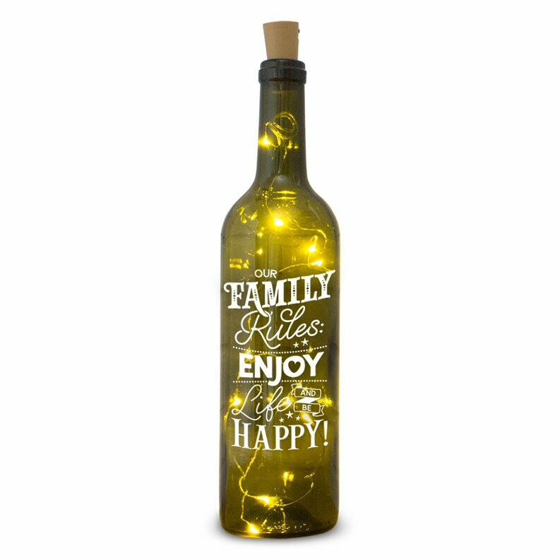 Verlichte fles: our family rules, enjoy life and be happy