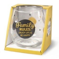 Gin-waterglas: Family rules: enjoy life and be happy!