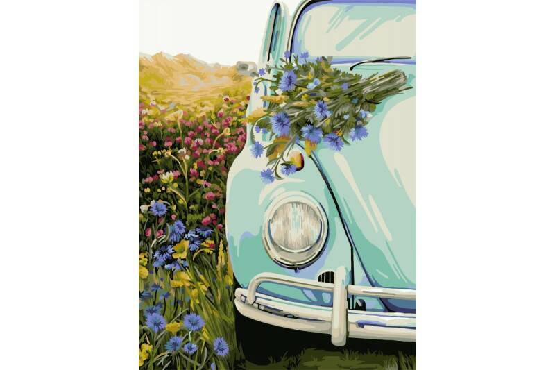 Painting by numbers kit. E011 Retro Beetle 40*50 ART59