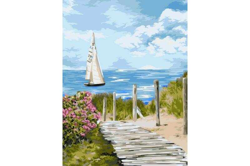 Painting by numbers kit. A136 Road to the sea 40*50 ART65