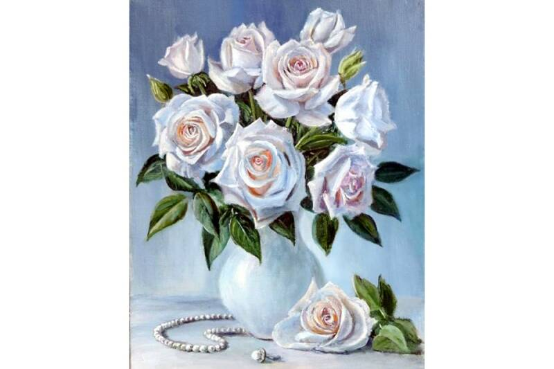 Bouquet of white roses  40x50 Dp743