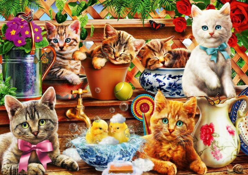 Kittens in the Potting Shed -  Puzzle 1,000 piece GS13684