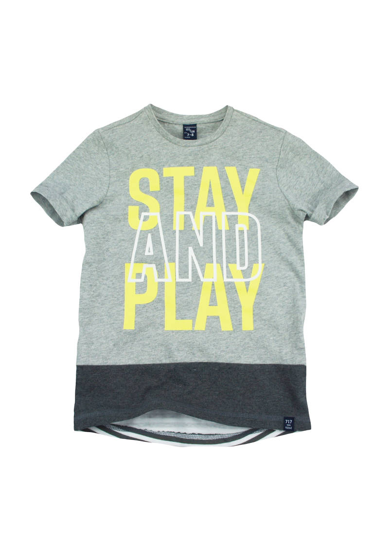 "T-shirt ""stay and play"" - Grijs 717"