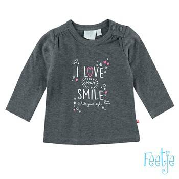 "T-shirt ""love your smile"" - Grijs"