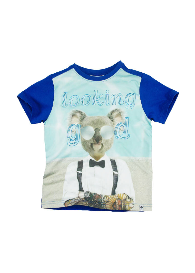 "T-shirt ""looking good"" - Blauw Frenchy"