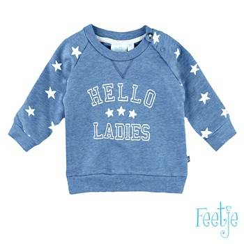 "Sweater ""hello ladies"" - Blauw Feetje"