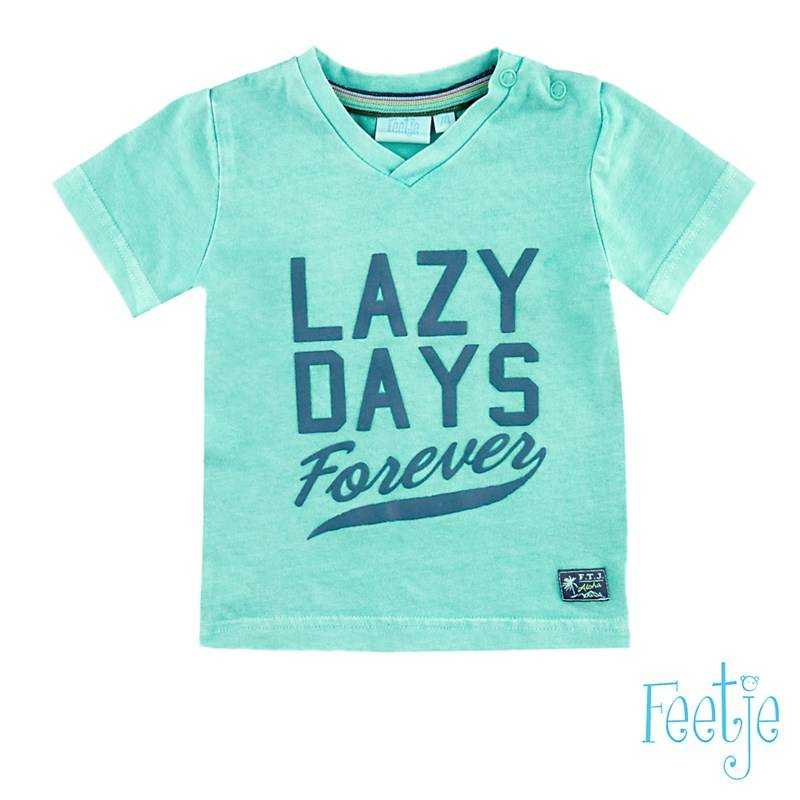 T-shirt 'lazy days' - Muntgroen Feetje