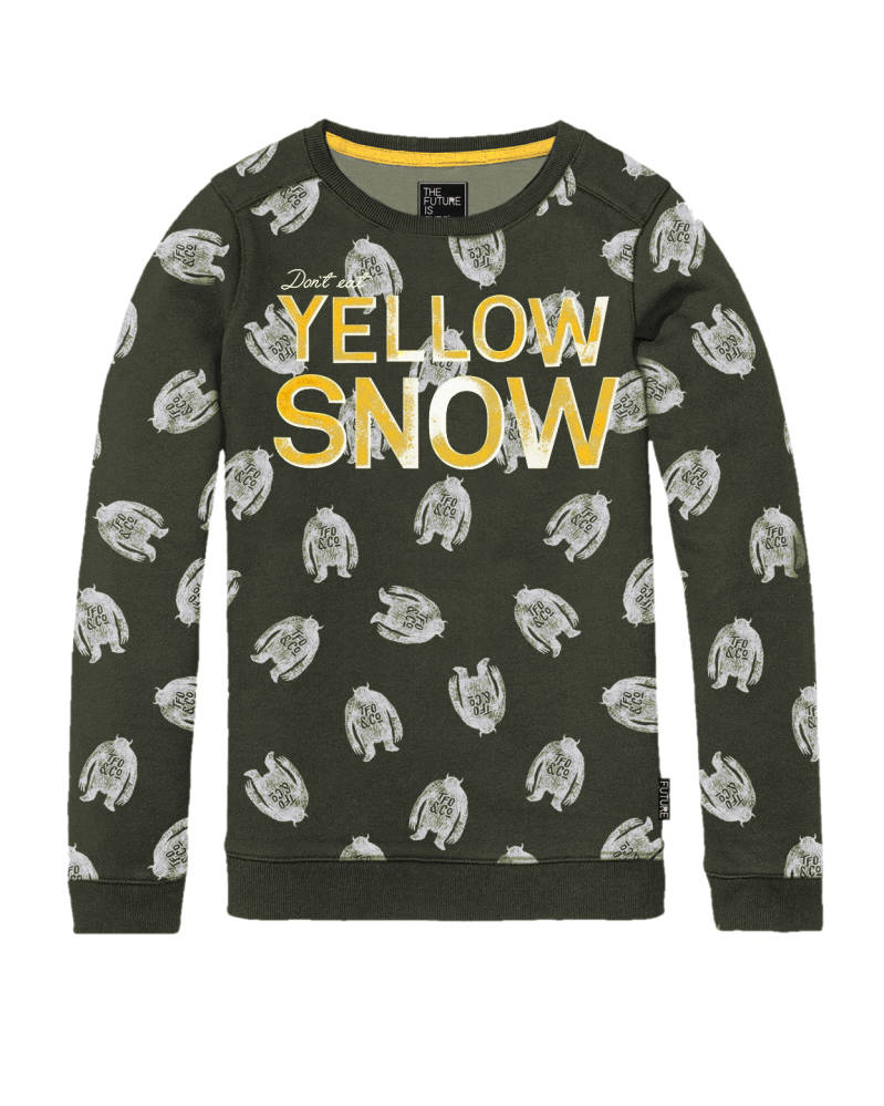"Sweater ""Yellow Snow"" - Grijs"