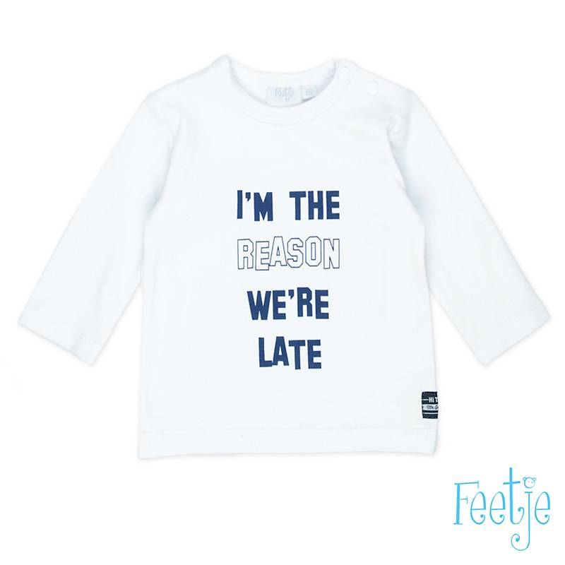 "T-shirt "" i'm the reason we're late"" - Wit - Feetje"