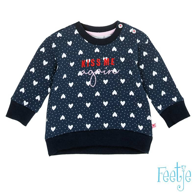 "Sweater "" kiss me again"" - Marineblauw - Feetje"