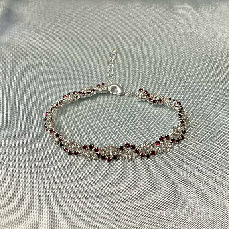 Armband zilver strass met rood