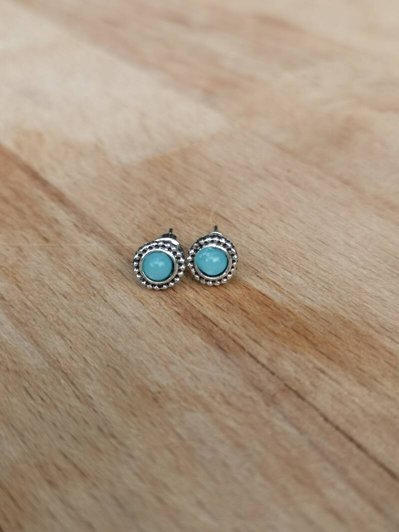 "Studs ""turquoise"" silver plated"
