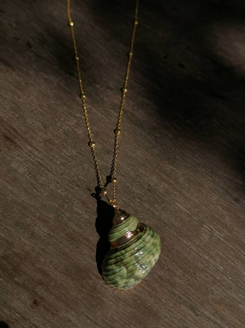 "Ketting ""Seashell green/gold"""