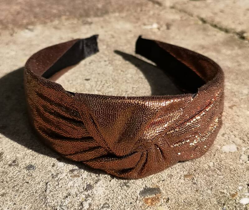 """Haarband """"Gold sparks in brown"""""""
