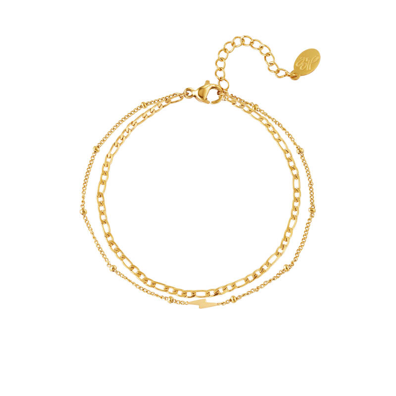 Armband Double chain and lightning - goud