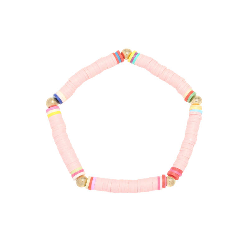 Armband Go surfing - baby roze/goud