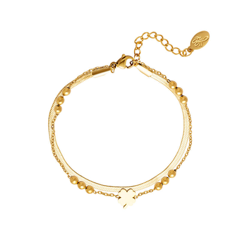 Armband Double chain and clover - goud