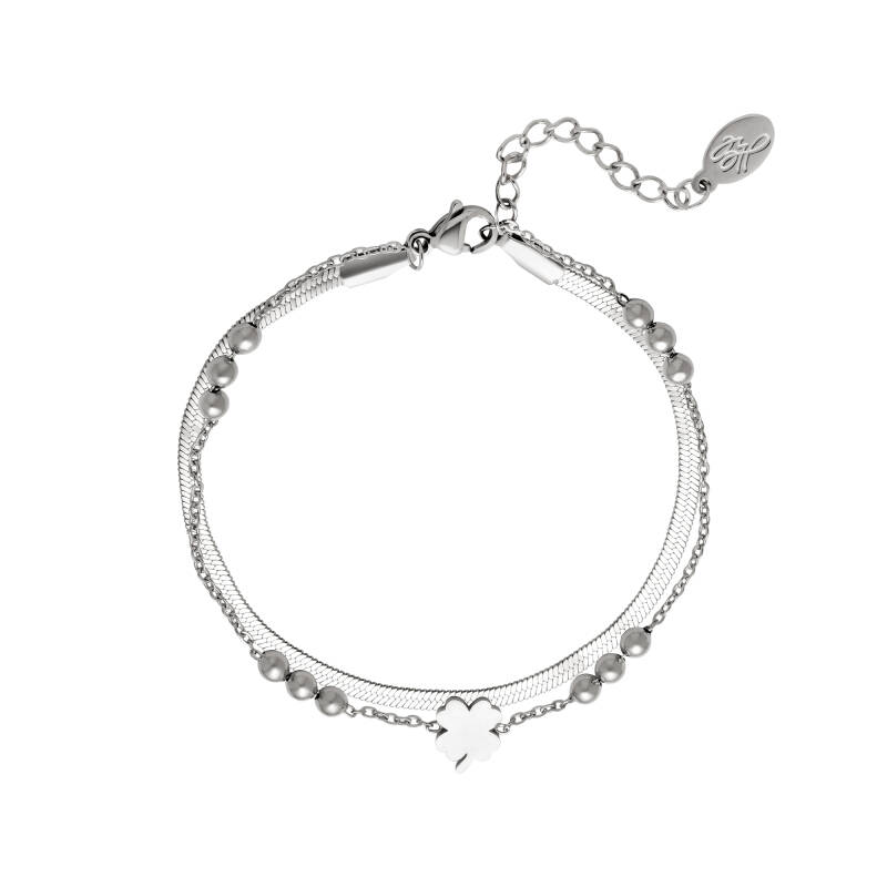 Armband Double chain and clover - zilver