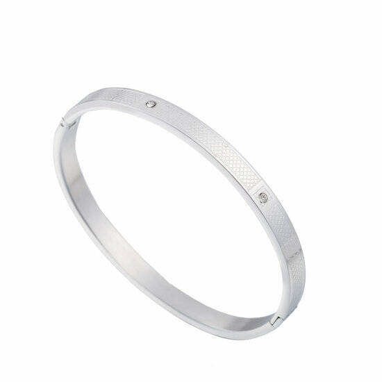 Bangle Diamond shape & stones - zilver