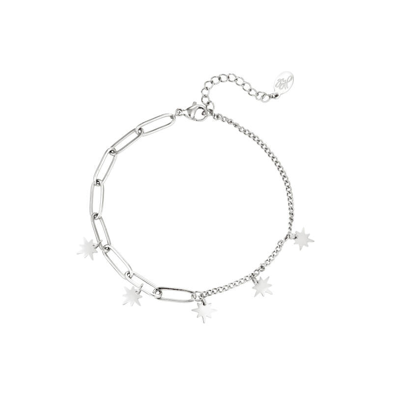 Armband star charms - zilver