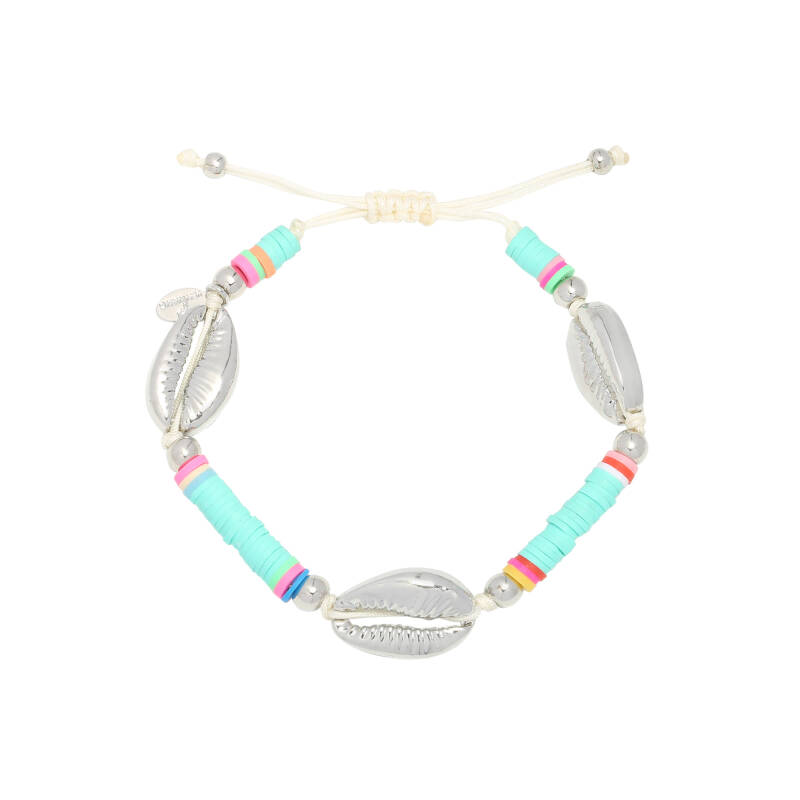Armband Surfing shell - blauw/zilver