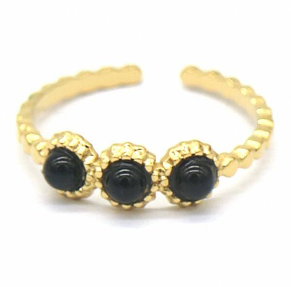 Ring Black dots - goud
