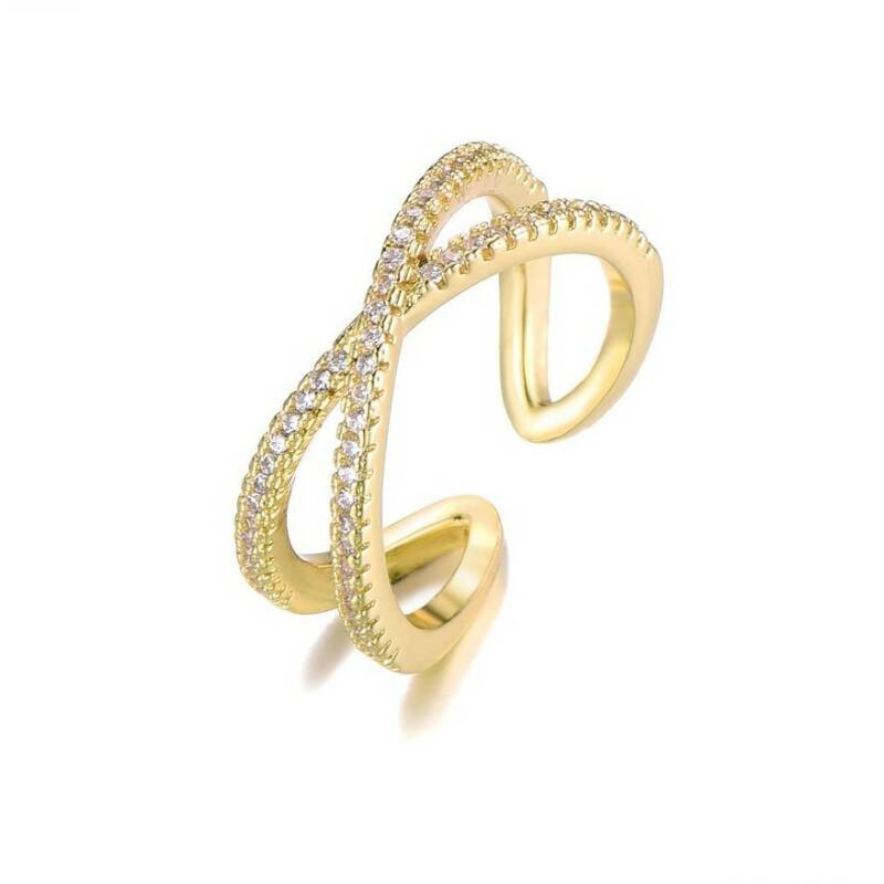 Ring Double strass - goud