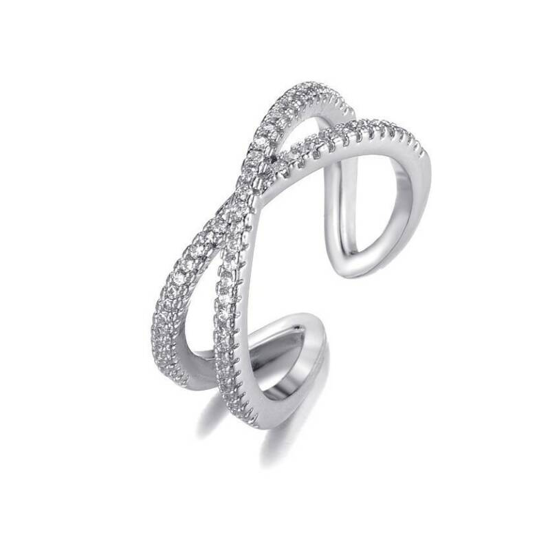 Ring Double strass - zilver