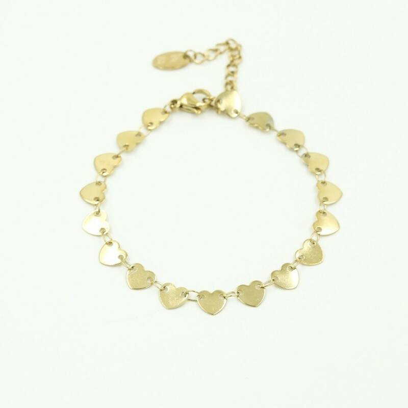 Armband Lot of hearts - goud