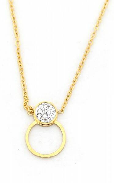Ketting Strass & circle - goud