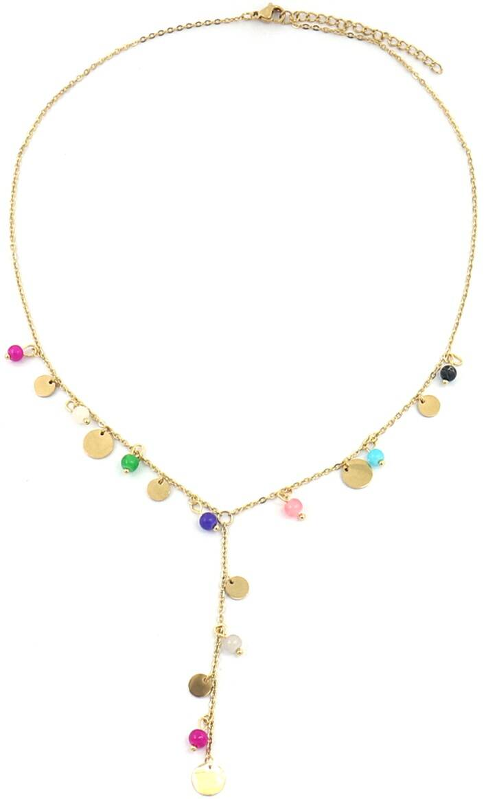 Ketting Coins & beads - goud