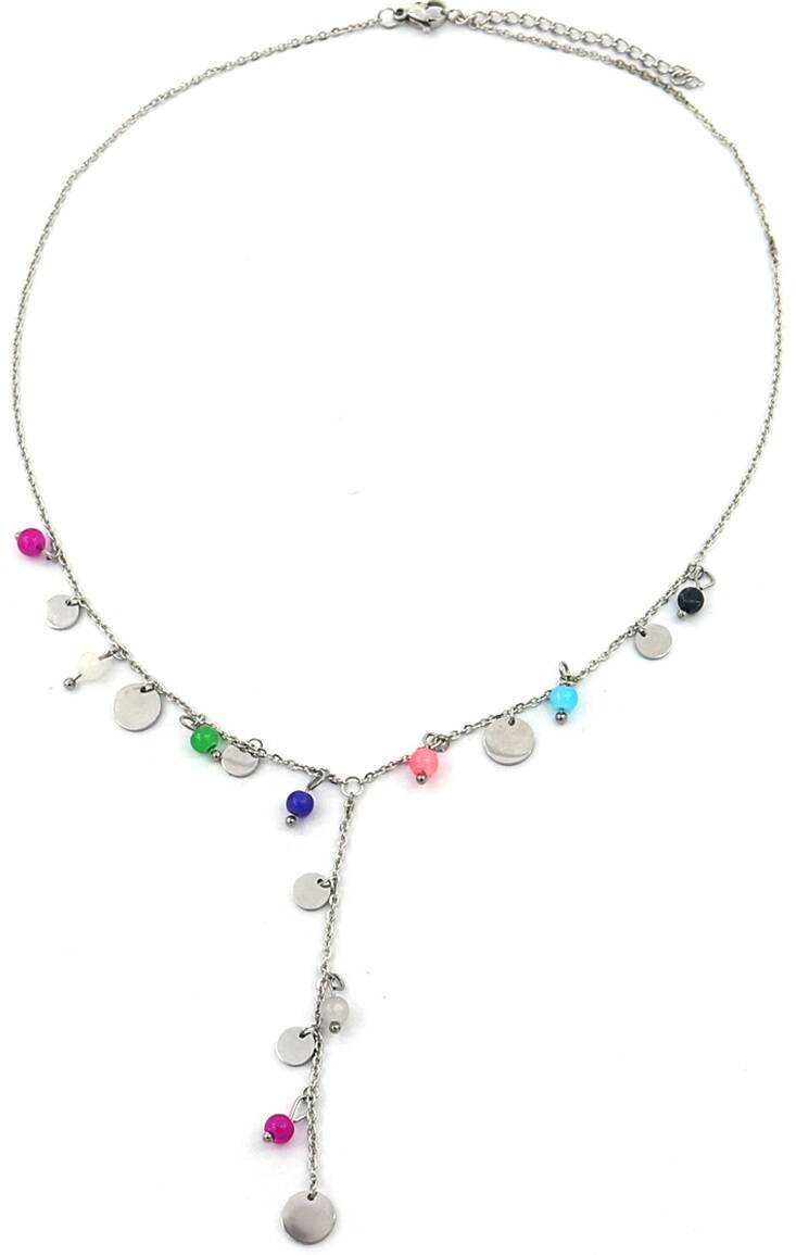 Ketting Coins & beads - zilver