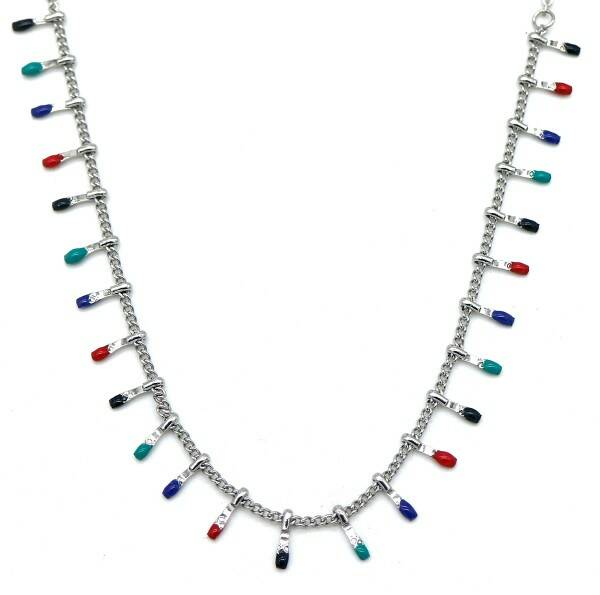 Ketting Paintdrops - zilver