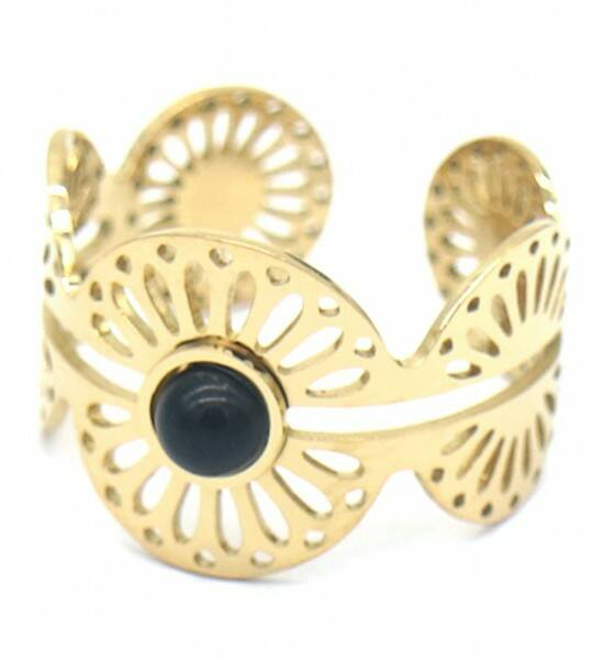 Ring Open pattern black - goud