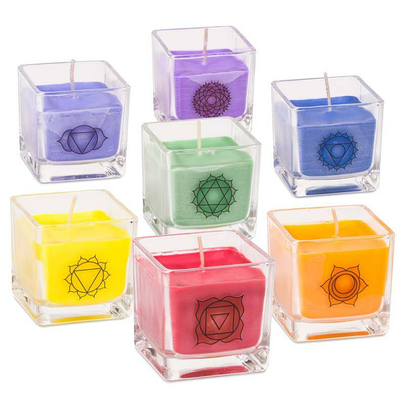 Set of 7 chakra eco rapeseed wax scented candles