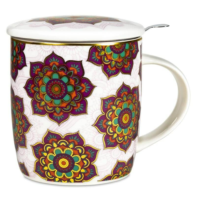 Gift box Tea Infuser Mug Mandala red