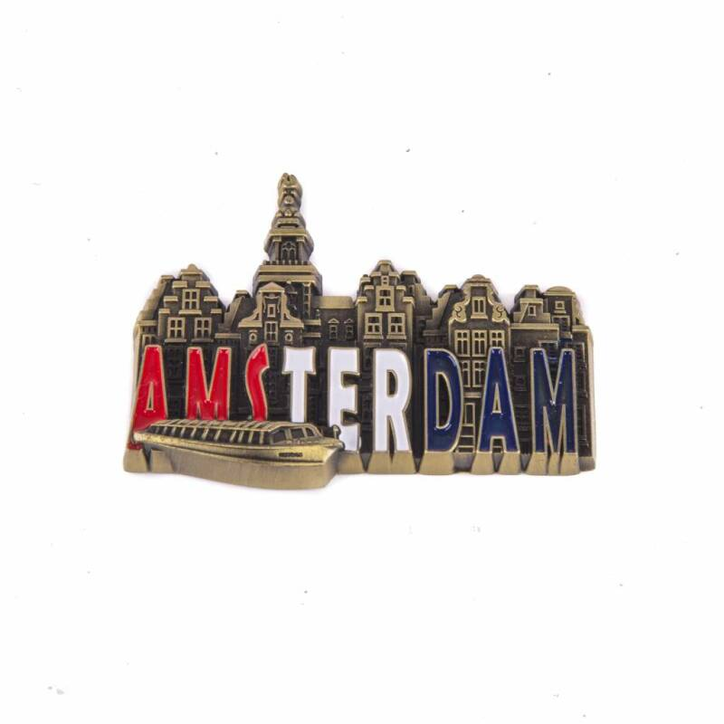 Amsterdam metal magnet bronze red-white-blue