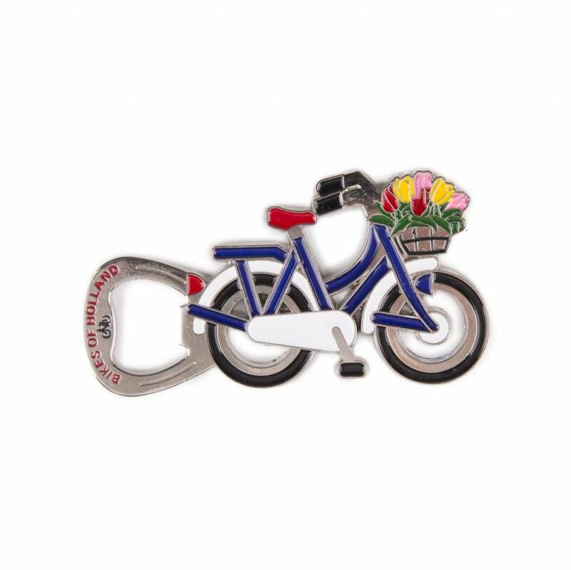 Metal bike magnet blue-white