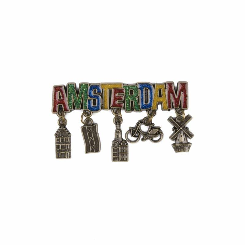 Amsterdam magnet glitter and beads bronze