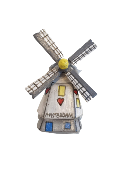 Wooden windmill magnet white heart