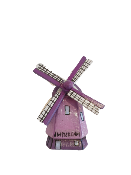 Wooden windmill magnet purple