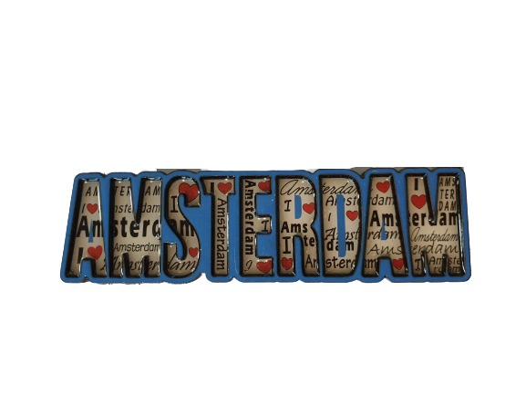 Magnet Amsterdam letters blue