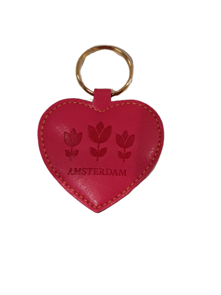 Eco leather keychain heart