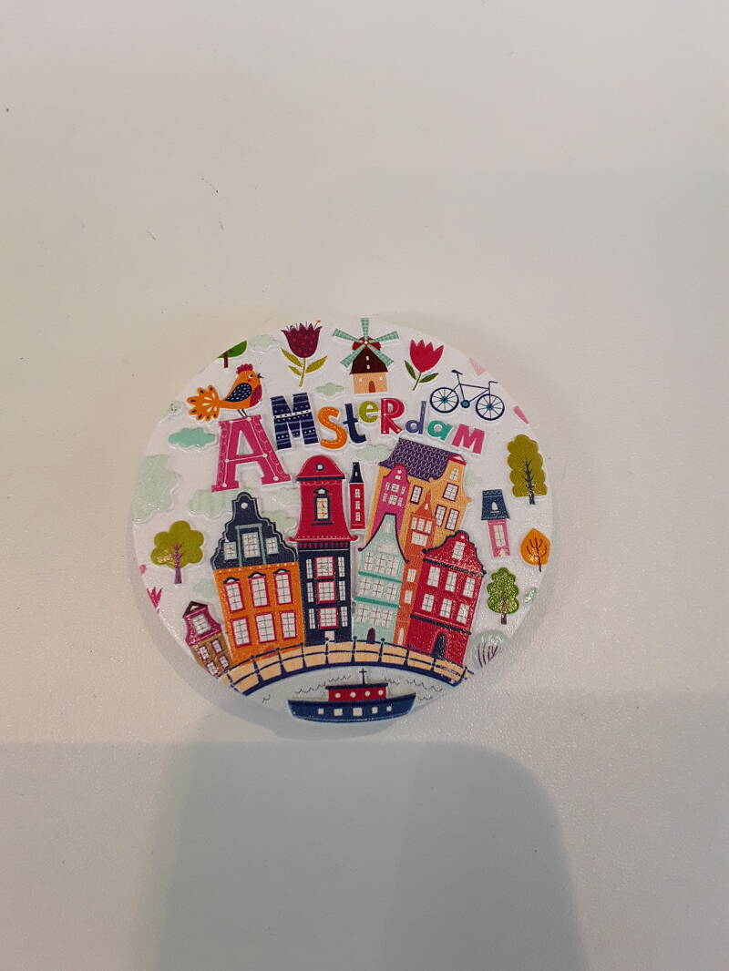 Magnet Amsterdam round colorfull